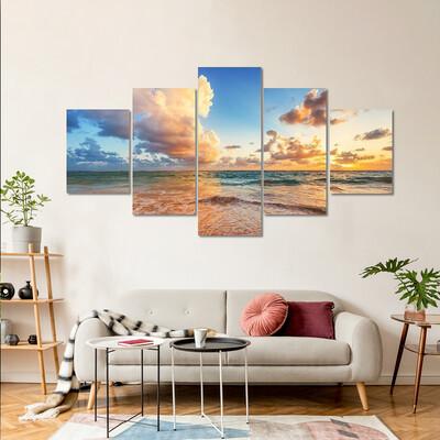 Cloudscape Over Caribbean Sea Multi Canvas Print Wall Art