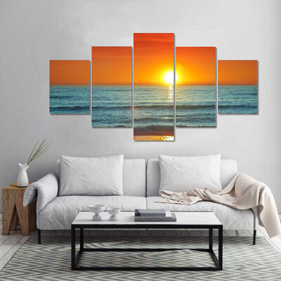 Colorful Sunset Over The Sea Multi Canvas Print Wall Art