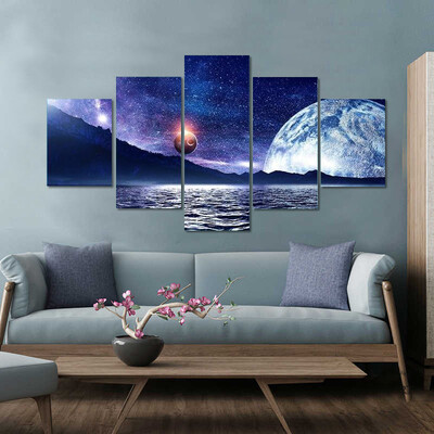 Deep Space Planet And Ocean Multi Canvas Print Wall Art