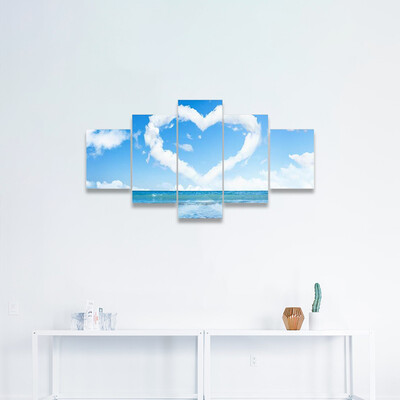 Heart Of Clouds On Sky Multi Canvas Print Wall Art