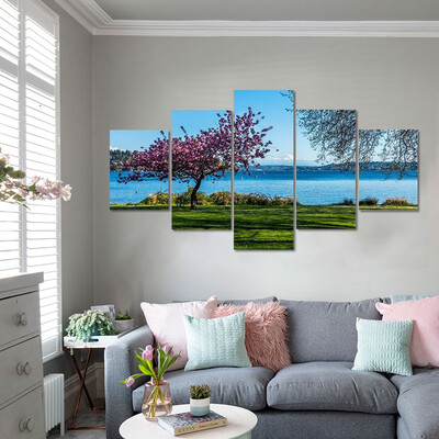 Lake With Alone Cherry Tree Multi Canvas Print Wall Art