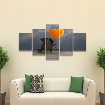 Elephant And Dog Holding Balloon Multi Canvas Print Wall Art