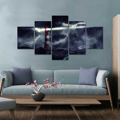Lighthouse In Stormy Sea Night Multi Canvas Print Wall Art