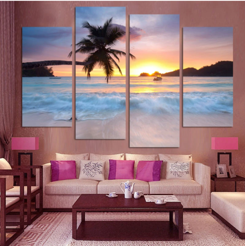 Tropical Sunset - 4 Panel Canvas Print Wall Art