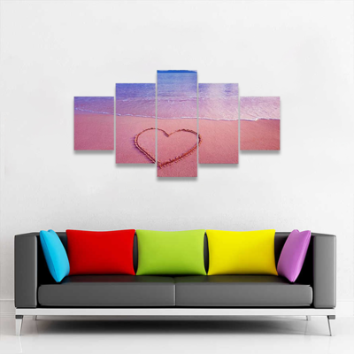 Heart On Sand At Pink Sea Multi Canvas Wall Art