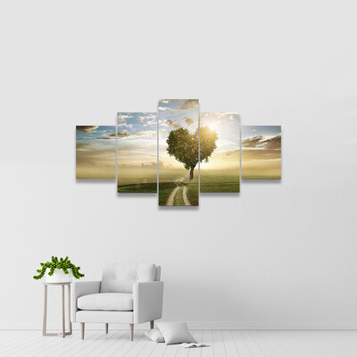 Heart Shaped Tree At Sunset Multi Canvas Wall Art