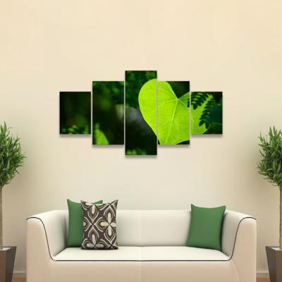 Leaf Like Heart Shape In Forest Multi Canvas Wall Art