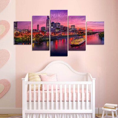 Nashville Skyline With Boat Multi Canvas Print Wall Art