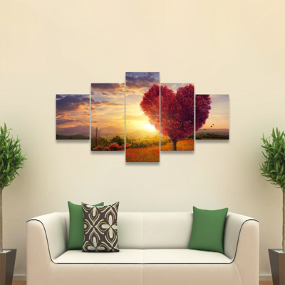 Red Heart Shaped Tree At Sunset Multi Canvas Wall Art