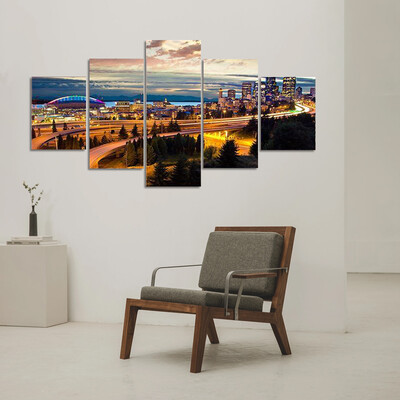Night View Of Seattle Multi Canvas Print Wall Art