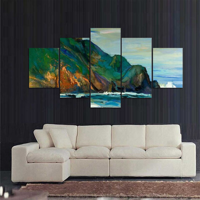Oil Painting Of Seacoast Multi Canvas Print Wall Art