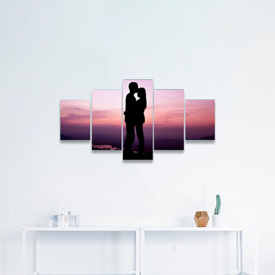 Lovers At Colorful Sunset Multi Canvas Wall Art