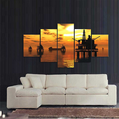 Oil Platform And Tanker In Sea Multi Canvas Print Wall Art