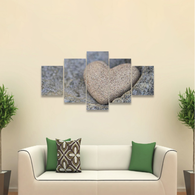 Sand Look Alike Heart Multi Canvas Wall Art