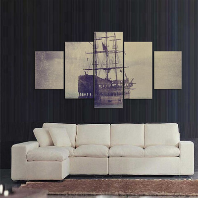 Old Pirate Ship In The Sea Multi Canvas Print Wall Art