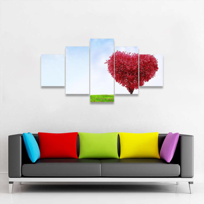 Red Love Tree In Summer Multi Canvas Wall Art