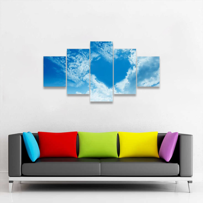 Sky Clouds Forming Heart Multi Canvas Wall Art