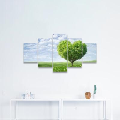 Tree In Shape Of Heart Multi Canvas Wall Art