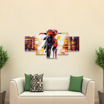 Two Enamoured Under Umbrella Multi Canvas Wall Art