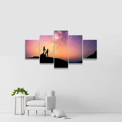Romantic Couple In Mountains Multi Canvas Wall Art