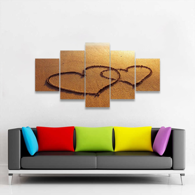 Two Hearts On Sand Multi Canvas Wall Art