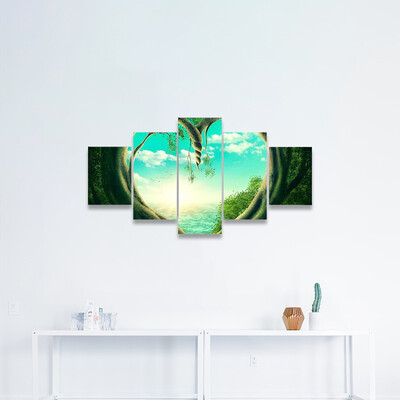 Two Trees Forming A Heart Multi Canvas Wall Art