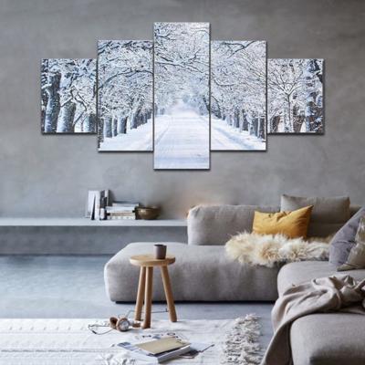 Alley In Snowy Morning Multi Canvas Print Wall Art