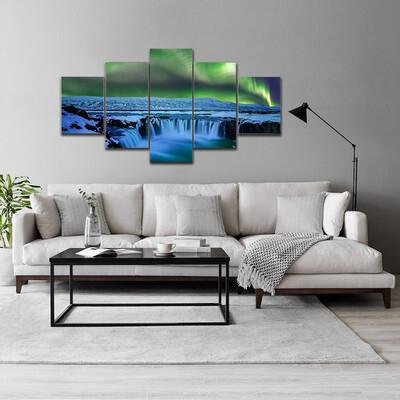 Aurora At Godafoss Waterfall Multi Canvas Print Wall Art