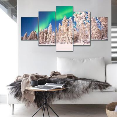Aurora Borealis In Lapland Finland Multi Canvas Print Wall Art