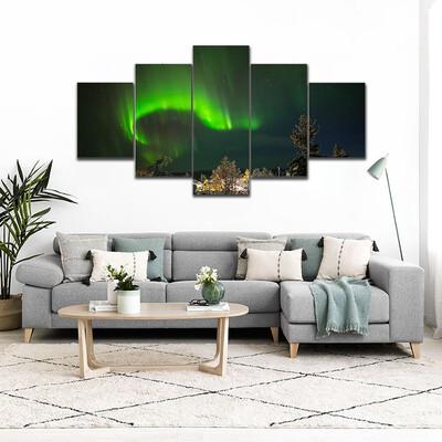 Aurora Borealis In Lapland Multi Canvas Print Wall Art