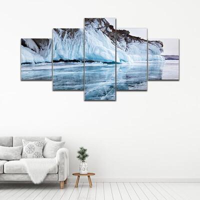 Baikal Lake In Winter Multi Canvas Print Wall Art