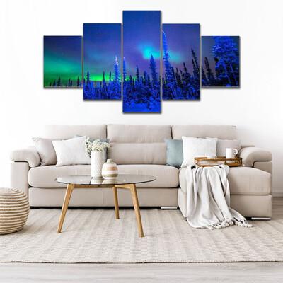 Beautiful Aurora In Winter Multi Canvas Print Wall Art