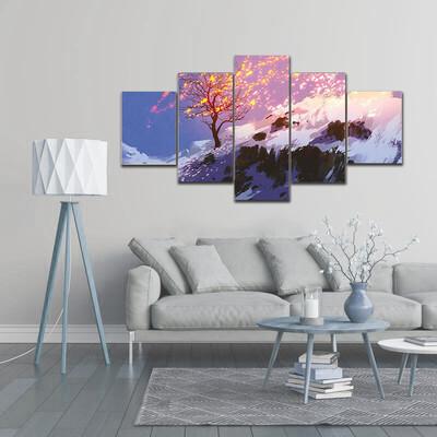 Bare Tree In Winter Multi Canvas Print Wall Art