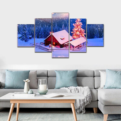 Blizzard Covered Alpine Fields Multi Canvas Print Wall Art