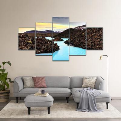 Blue Lagoon Waters Multi Canvas Print Wall Art