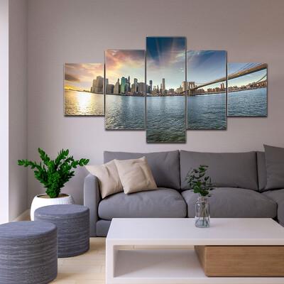 Brooklyn Bridge At Winter Sunset Multi Canvas Print Wall Art