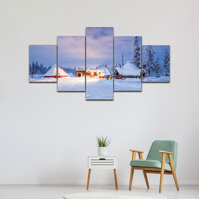 Cabin Hut At Night Multi Canvas Print Wall Art