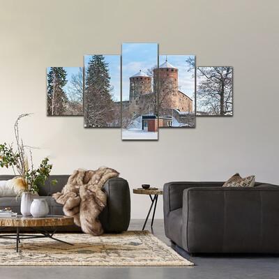 Castle Olavinlinna Olofsborg Multi Canvas Print Wall Art