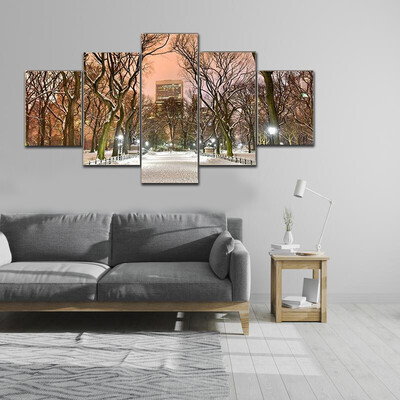 Central Park At Night During The Winter Multi Canvas Print Wall Art