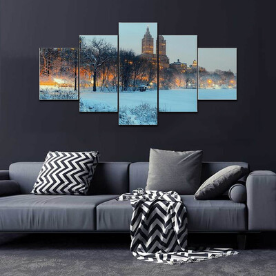 Central Park Winter At Night Multi Canvas Print Wall Art