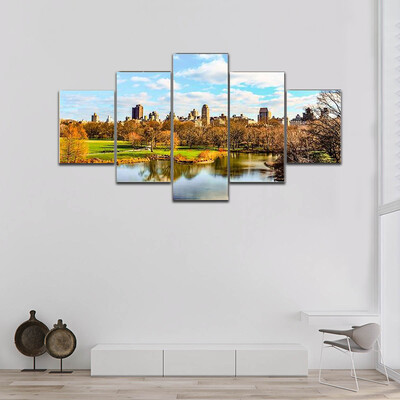 Central Park During Winter Multi Canvas Print Wall Art