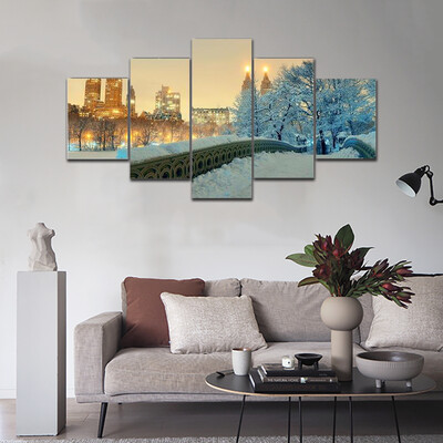 Central Park Winter In Midtown Multi Canvas Print Wall Art