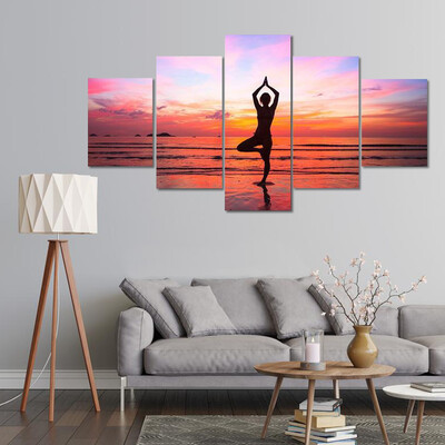 Woman Yoga Practice At The Seaside Multi Canvas Print Wall Art