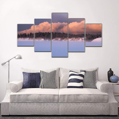 Cold Foggy On River Bank Multi Canvas Print Wall Art