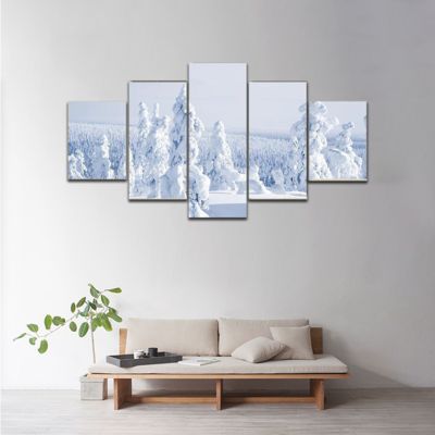 Cold Winter With Lot Of Snow Multi Canvas Print Wall Art