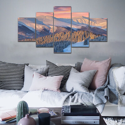 Colorful Winter In Mountains Multi Canvas Print Wall Art