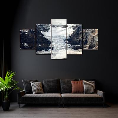 Columbia Icefield Glacier In Canada Multi Canvas Print Wall Art
