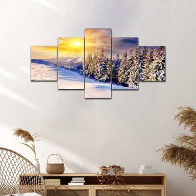 Dramatic Sunset In The Mountains Multi Canvas Print Wall Art