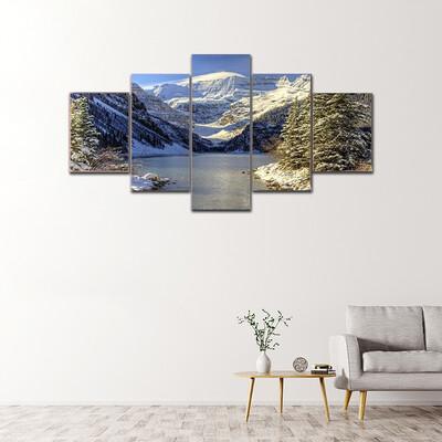 Early Winter Snow Settles Multi Canvas Print Wall Art