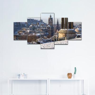 Edinburgh Winter City View Multi Canvas Print Wall Art
